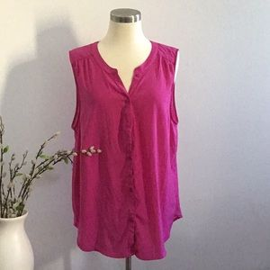 Fuchsia button down tank